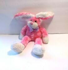 "Dan Dee Pink and White Bunny Rabbit Purple Sheer Ribbon Bow Plush Bean Bag 12"""