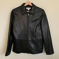 Petite Sophisticate Womens Black Leather Jacket Zip Front Pockets Lined Size M