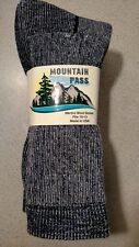 3 PAIR MENS GREY/BLUE HIKING CAMPING OUTDOOR  MERINO WOOL SOCKS LARGE 10-13 USA