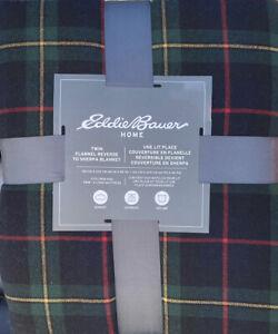 Eddie Bauer TWIN Mountain Pine Plaid Flannel Sherpa Blanket Red Navy Blue Black