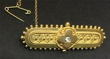 SUPERB VICTORIAN  ETRUSCAN STYLE BROOCH - DIAMOND SET IN 15CT GOLD - CIRCA 1890