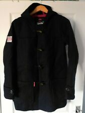 SUPERDRY Navy Blue THE ROOKIE Wool Blend Hooded Duffle Coat Size XS Extra Small
