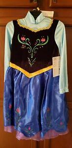 NEW Disney Frozen Anna Girls Dress-up Costume plus Cape Medium 7-8