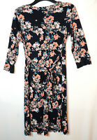 NAVY BLUE PINK FLORAL LADIES CASUAL DRESS SIZE 12 FAT FACE V-NECK STRETCHY