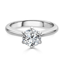 Cut Solitaire Moissanite Engagement Ring 0710 14K Solid White Gold 2.00 Ct Round
