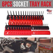 "6Pcs Socket Tray Rail Rack Storage Organizer Holder Metric SAE 1/4"" 3/8"" 1/2"" US"