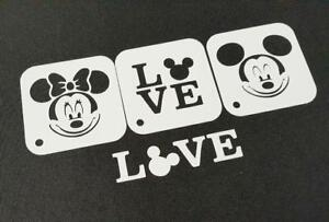 3pcs DISNEY Themed MICKEY MINNIE MOUSE Love Text Stencils Party Decoration Craft