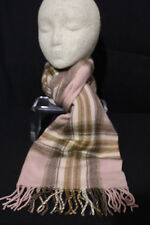 LORD & TAYLOR Pink & Brown Plaid 100% Cashmere Scarf, West Germany-B44