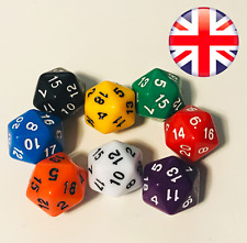 D20 20-sided 20mm dice D&D Infinity RPG die coloured acrylic UK red orange white