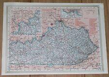 1950 ORIGINAL VINTAGE MAP OF KENTUCKY LEXINGTON / VERSO KANSAS WICHITA