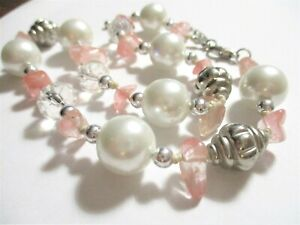 "Rose Quartz Nugget, Made with Swarovski, Faux Pearl Hand-Knotted 15"" Choker, EUC"