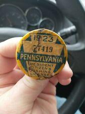 Vintage 1923 Pa Pennsylvania Resident Fishing License Button Pin