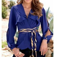 NEW $98 4 Boston Proper Sexy Ruffled Wrap Slit Sleeve Belted Blouse Top Last One
