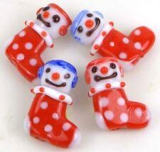 Lampwork Handmade Glass Snow Kids Boots Christmas Beads