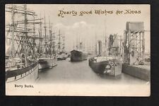 Barry Docks - with 'Hearty Good Wishes for Xmas' - printed postcard