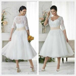 Plus Size A-Line Wedding Dresses Tea Length Bridal Ball Gown Half Sleeves Custom