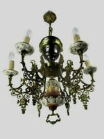 Ceramic Porcelain Brass Chandelier Ornate 6 arm Lights Flowers Gorgeous