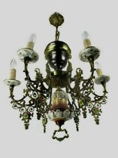 Ceramic Porcelain Brass Chandelier Ornate 6 arm Lights Flowers Gorgeous