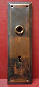 ANTIQUE LARGE EARLY 1900's COPPER FLASHED DOOR KNOB BACK PLATE W/ORIGINAL SCREWS