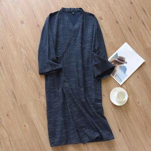 Men Bathrobe Cotton Striped Japanese Kimono Yukata Nightwear Loungewear Comfy