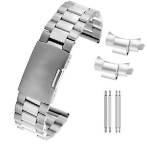 Black/Silver 18/20/22MM Stainless Steel Strap Straight Ends with Curved Link