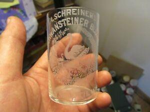 RARE Pre Prohibition Schwansteiner Blume Acid Etched Beer Glass Plymouth Wis