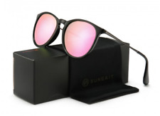 SUNGAIT Classic Retro Style Sunglasses for Women Glossy Black w/ Pink Lenses