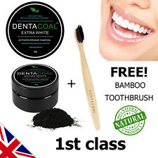 Dentacoal ® Activated Charcoal Teeth Whitening Powder FREE Bamboo Toothbrush UK
