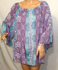 9d1673337f475 Cocomo Woman Plus Size 1x Sharkbite Shiny Purple Floral Tunic Top Blouse  Shirt