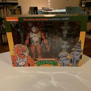 NECA Teenage Mutant Ninja Turtles 3 Pack Triceraton Infantryman & Roadkill...