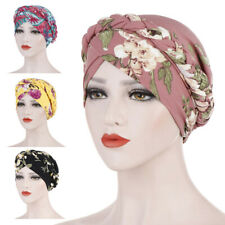 KE_ Women Indian Stretchy Cotton Chemo Pleated Turban Hat Head Wrap Hijab Cap