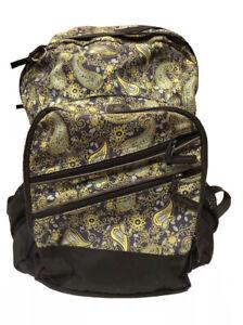 LL Bean Super Deluxe College School Backpack Paisley Book Bag Laptop Sleeve