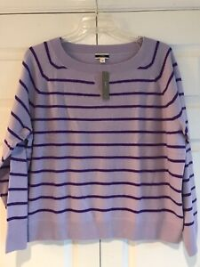 Details about  /J Crew Women/'s Black /& White Striped Pullover Sweater Size L