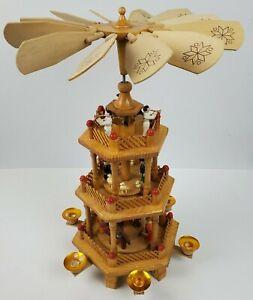 German Christmas Carousel Pyramid 18 Inches Wood Nativity Scene w/ Windmill