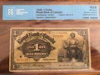 ROYAL BANK OF CANADA JAMAICA 1938 £1 VG-8 EXT RARE