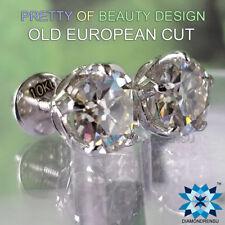 7.00 mm OEC VVS Fiery Near White Genuine Moissanite Earrings 10 kt White Gold
