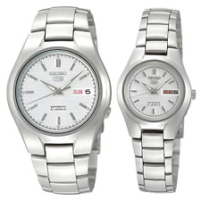 Seiko 5 Classic Silver Dial Couple's Stainless Steel Watch Set