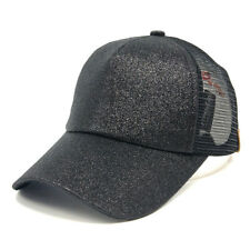 2018 Ladies Ponytail Baseball Cap Sequins Shiny Messy Bun Snapback Hat Sun Caps