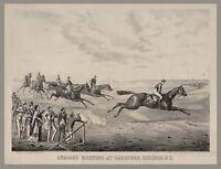 1840 Horse Racing Art Print, Saratoga Springs, New York, antique vintage decor