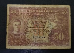 50 Cent Board Of Commissioners Of Currency Malaya  1941  aVF