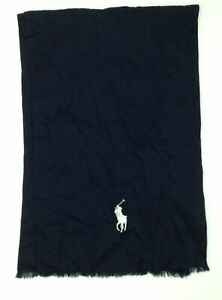 $258 Polo Ralph Lauren Men's Blue White Cotton Lightweight Pony Logo Scarf O/S