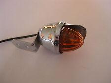 CHROME BULLET MINI VISOR INDICATOR LIGHT AMBER HOTROD RATROD CUSTOM