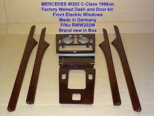 Mercedes W202 C Class WALNUT WOOD DASH and DOOR KIT FRONT E/Windows 96on RWW202W