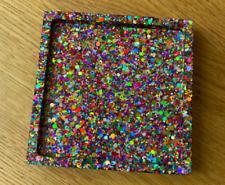 RAINBOW RESIN COASTER handmade item pride new glitter trinket tray