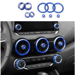 Fit For Nissan Sentra 2020 2021 Car Dashboard Console Knob blue Trim Cover 10pcs