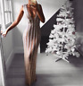 Women's Deep V-neck Sequins Sexy Backless Sequined Maxi Dress Evening Gown