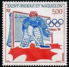 1988 FRANCE ST PIERRE ET MIQUELON HOCKEY JEUX OLYMPIQUES CALGARY CANADA NEUF**