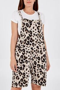 New Ladies Womens Leopard Print Short Jersey Dungarees Jumpsuits One Size (8-16)