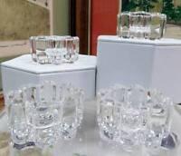 "4 EAPG BRYCE / US GLASS 8 LOBE PRESSED GLASS 1 7/8"" ROUND SALT CELLARS 1900-1910"
