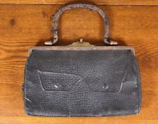 Victorian Antique Small Very Distressed Doctor Valise Style Sm Purse Hand Bag